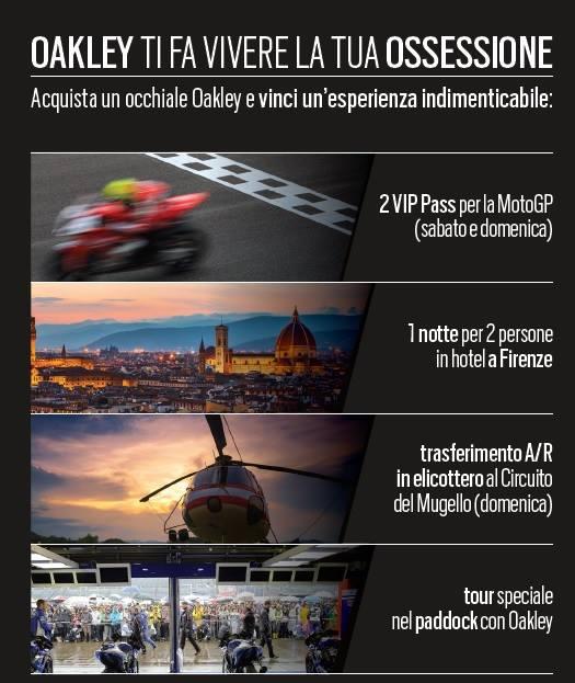 """ec8dc267aa56e """"Vinci il Gran Premio d Italia Oakley""""  fino al 28 maggio acquistate una  delle montature in promozione"""